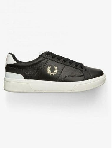 Fred Perry B200 Leather Tennis Shoe Trainer Black UK3 UK4 RRP£80 Brand New Boxed